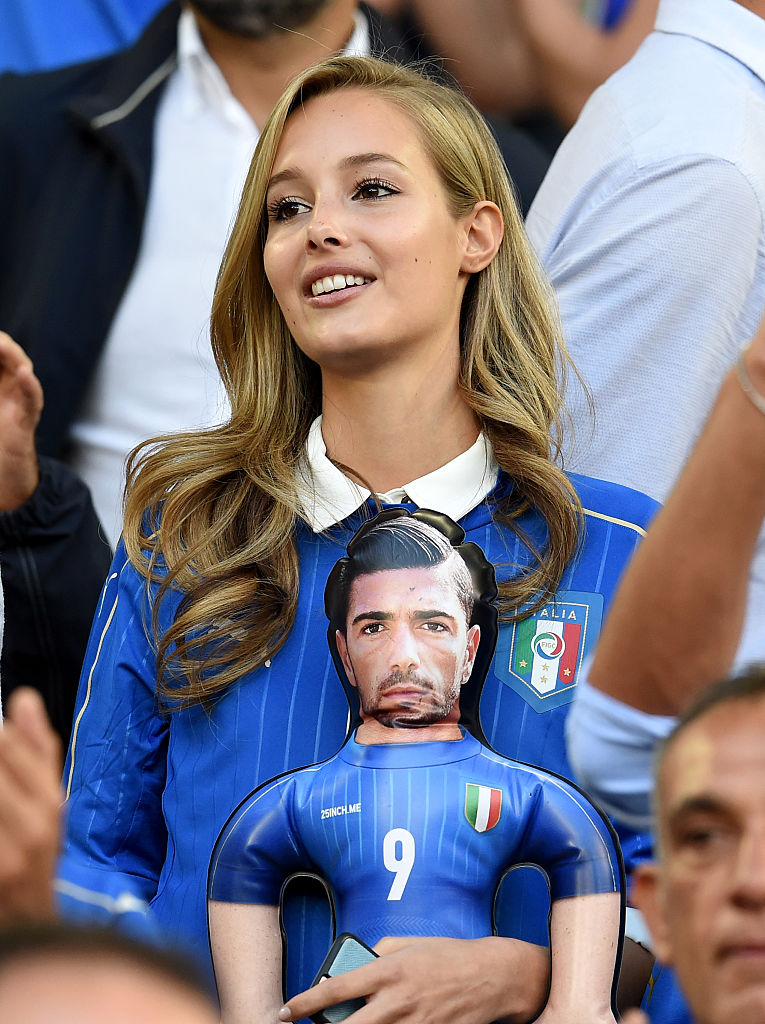 BORDEAUX, FRANCE - JULY 02:  Victoria Varga, girlfriend of Graziano Pelle is seen prior to the UEFA EURO 2016 quarter final match between Germany and Italy at Stade Matmut Atlantique on July 2, 2016 in Bordeaux, France.  (Photo by Claudio Villa/Getty Images)