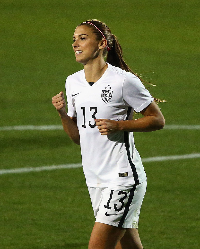 FRISCO, TX - FEBRUARY 10:  Alex Morgan #13 of USA celebrates her goal against Costa Rica during the 2016 CONCACAF Women's Olympic Qualifying at Toyota Stadium on February 10, 2016 in Frisco, Texas.  (Photo by Ronald Martinez/Getty Images)