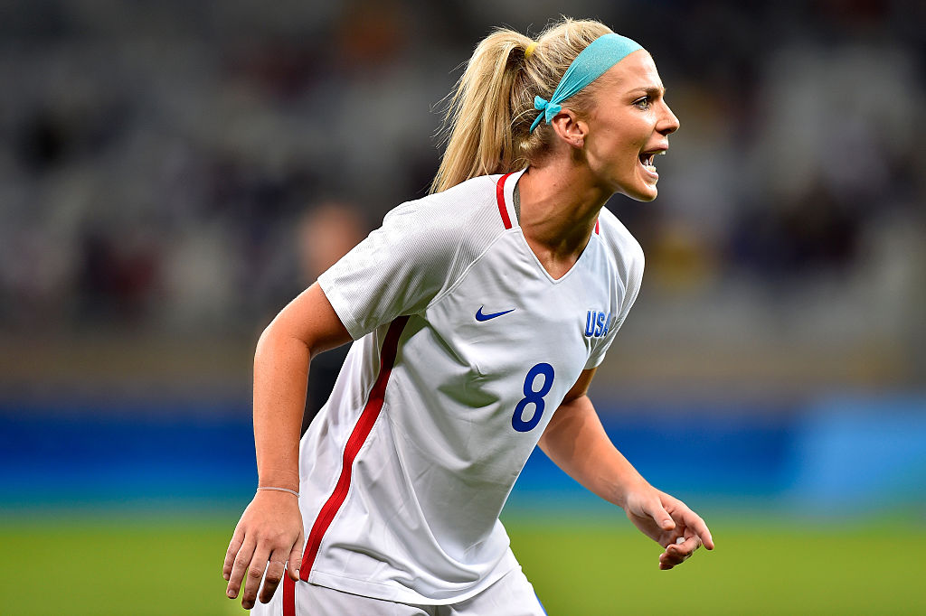 BELO HORIZONTE, BRAZIL - AUGUST 03: Julie Johnston #8 of United States reacts during the Women's Group G first round match between the United States and New Zealand during the Rio 2016 Olympic Games at Mineirao Stadium on August 3, 2016 in Belo Horizonte, Brazil.  (Photo by Pedro Vilela/Getty Images)