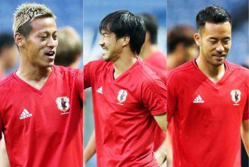 本田、岡崎、吉田がパス交換からスキル披露 華麗なトラップ、鋭い切り返しに「それ!」