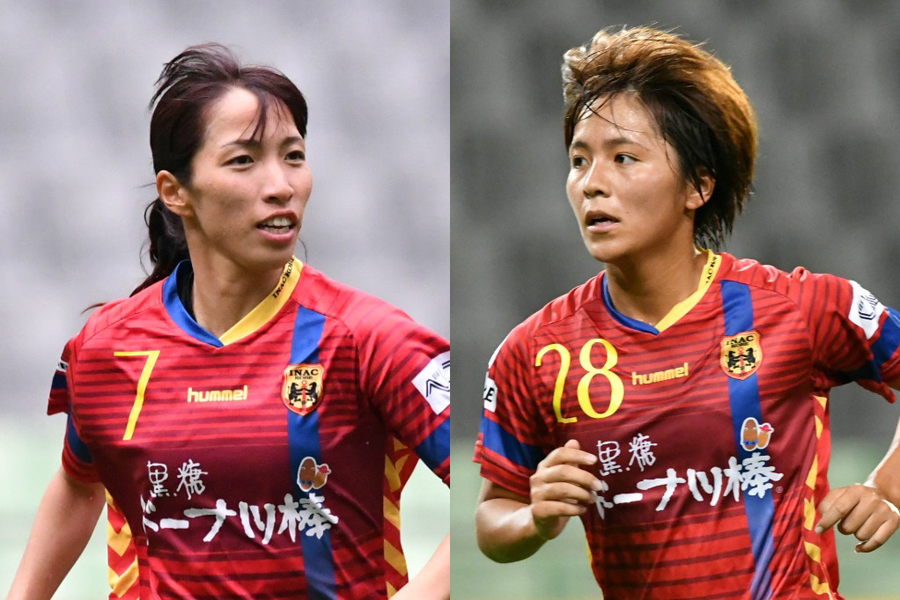 INAC神戸新キャプテンのMF中島(左)とFW岩渕(右)【写真:井上智博】