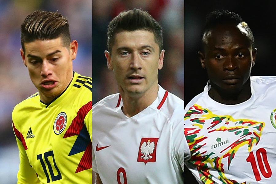 ハメス(コロンビア代表)、レバンドフスキ(ポーランド代表)、マネ(セネガル代表