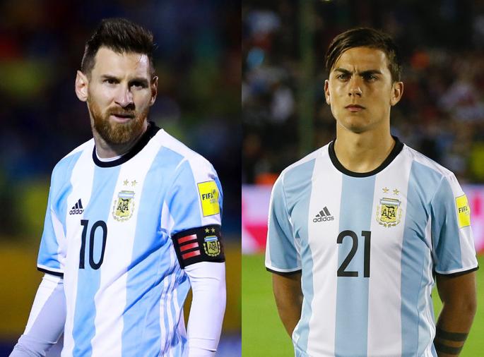 アルゼンチン代表のFWリオネル・メッシ、FWパウロ・ディバラ【写真:Getty Images】
