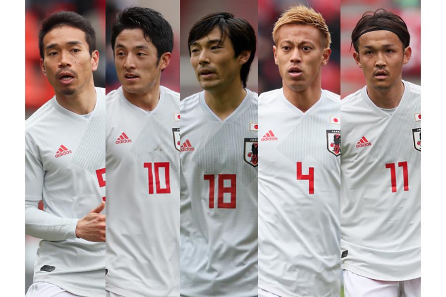 (左から)長友、森岡、中島、本田、宇佐美【写真:Getty Images】