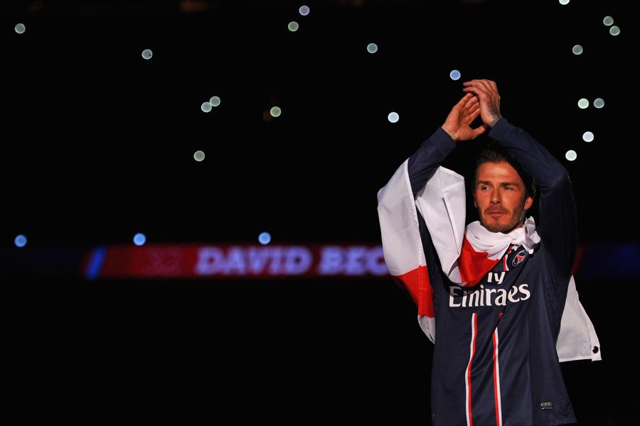 PSGで半年間プレーし、現役を引退した。この時、リーグ優勝を果たし、ベッカムは四ヶ国でタイトルを勝ち取ったことになる【写真:Getty Images】