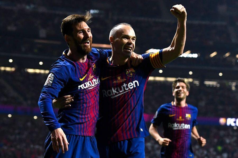 国王杯で史上初の4連覇を達成したバルサ、表彰式でメッシがイニエスタに配慮【写真:Getty Images】