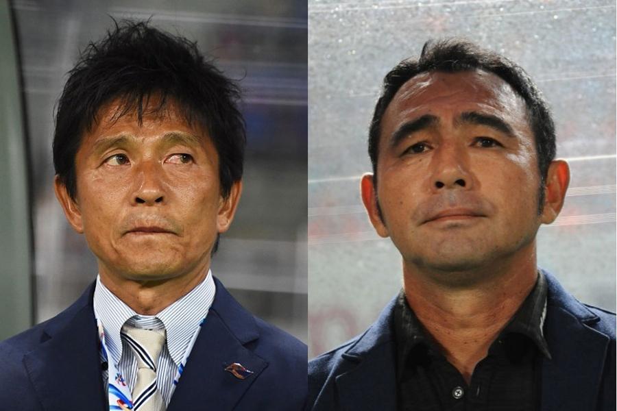 (右)長谷川監督は、(左)城福監督に対して、どのような印象を抱いているのだろうか【写真:Getty Images】