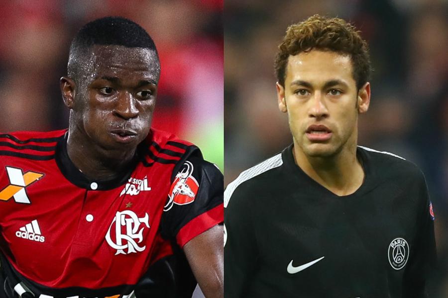 ヴィニシウス(左)は以前からネイマール(右)とレアルでチームメイトになるという未来予想図を描いているという【写真:Getty Images】