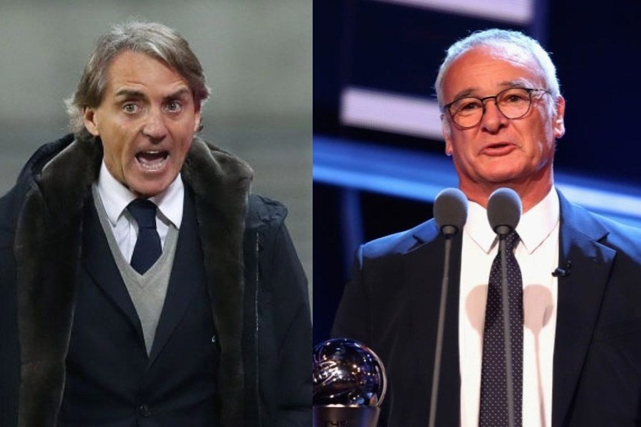 イタリア代表新監督の最有力候補に、(左から)マンチーニ&ラニエリが浮上した【写真:Getty Images】