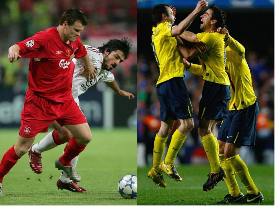 1つ目は2004-05シーズンの決勝ACミランとリバプールによる名門同士の一戦、2つ目は2008-09シーズンの準決勝チェルシー対バルセロナの一戦【写真:Getty Images】