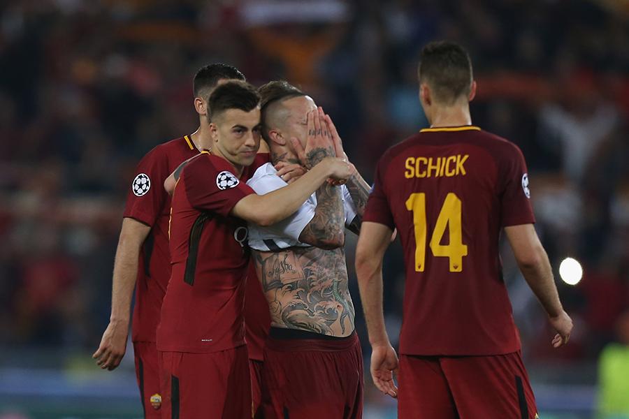 CL準決勝で敗退したローマの選手たち【写真:Getty Images】