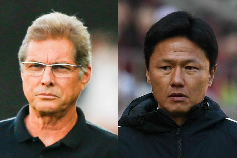 浦和・オリヴェイラ監督(左)と鹿島・大岩監督(右)は、試合後に互いを称えあった【写真:Getty Images】