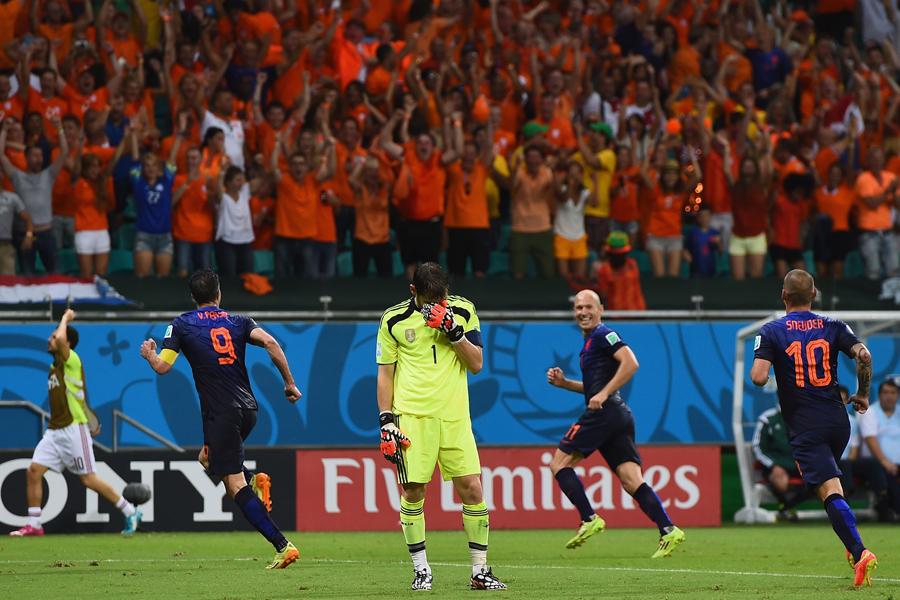 2014年ブラジルW杯のスペイン対オランダは、1-5でオランダが勝利した【写真:Getty Images】