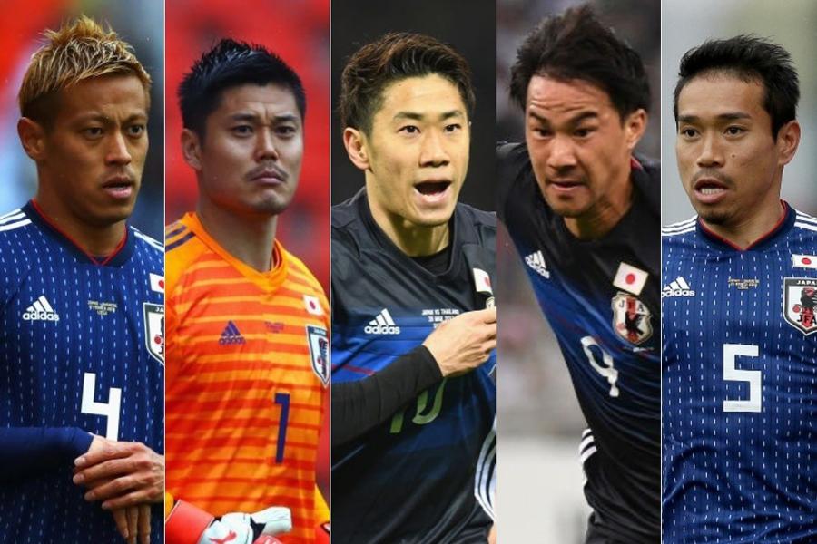 W杯で日本と対戦するコロンビアメディアが、「要注意人物5選手」として(左から)本田、川島、香川、岡崎、長友を警戒している【写真:Getty Images】