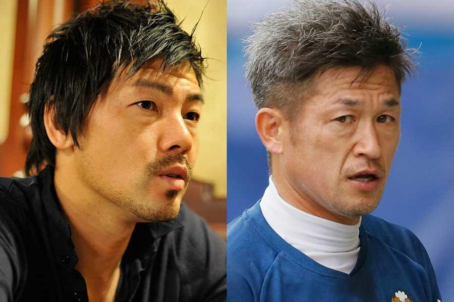 松井大輔(左)と三浦知良(右)が古巣・京都のピッチに18年ぶりに同時出場を果たした【写真:Getty Images】