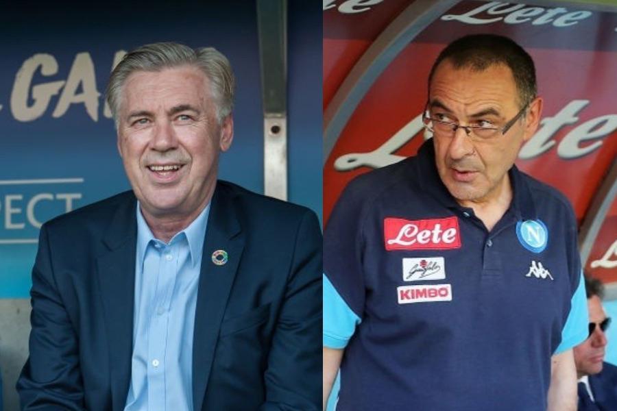 """チェルシーの後任監督にナポリのサッリ監督が浮上し、ナポリはアンチェロッティ氏を招聘することで""""玉突き移籍""""の可能性を報じられた【写真:Getty Images】"""