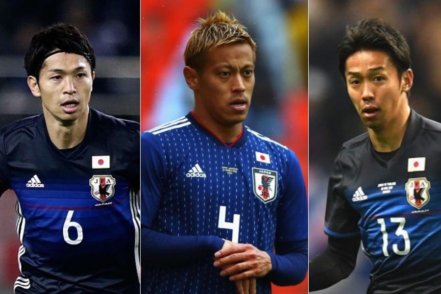 (左から)森重、本田、清武【写真:Getty Images】
