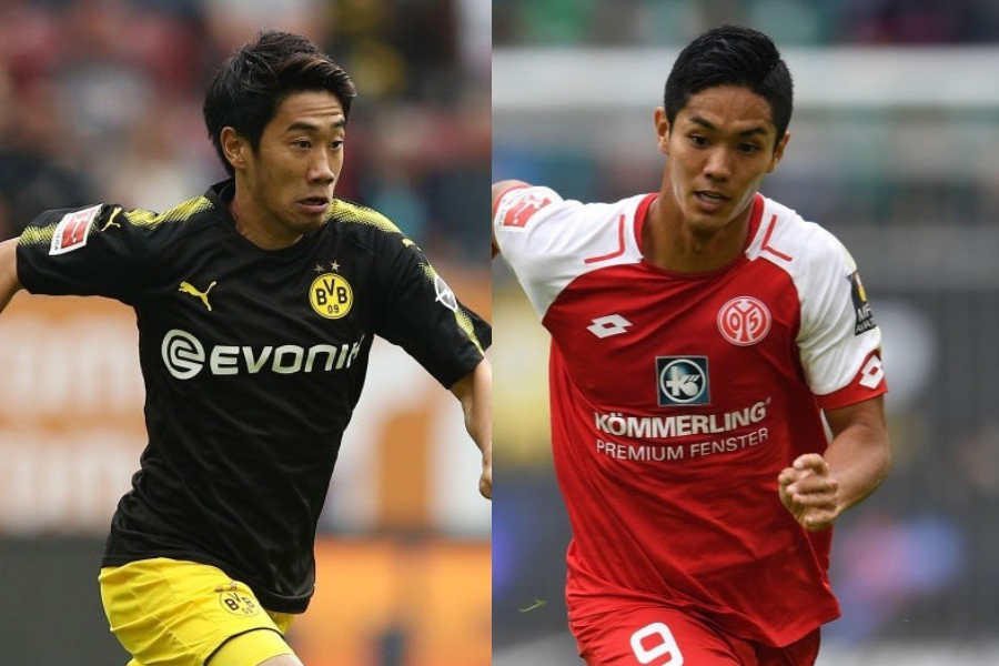 ブンデス公式YouTubeチャンネルの「全18クラブ年間ベストゴール」に、香川と武藤がノミネートされた【写真:Getty Images】