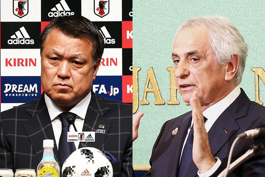 日本サッカー協会の田嶋会長(左)と代表監督を解任されたハリルホジッチ氏【写真:Getty Images】