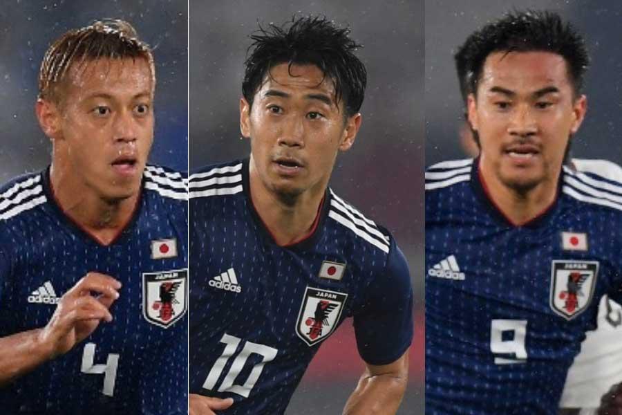 ブラジル紙が「監督のアキラ・ニシノは著名な選手を選んだ」と指摘 (左から)本田、岡崎、香川【写真:Getty Images】