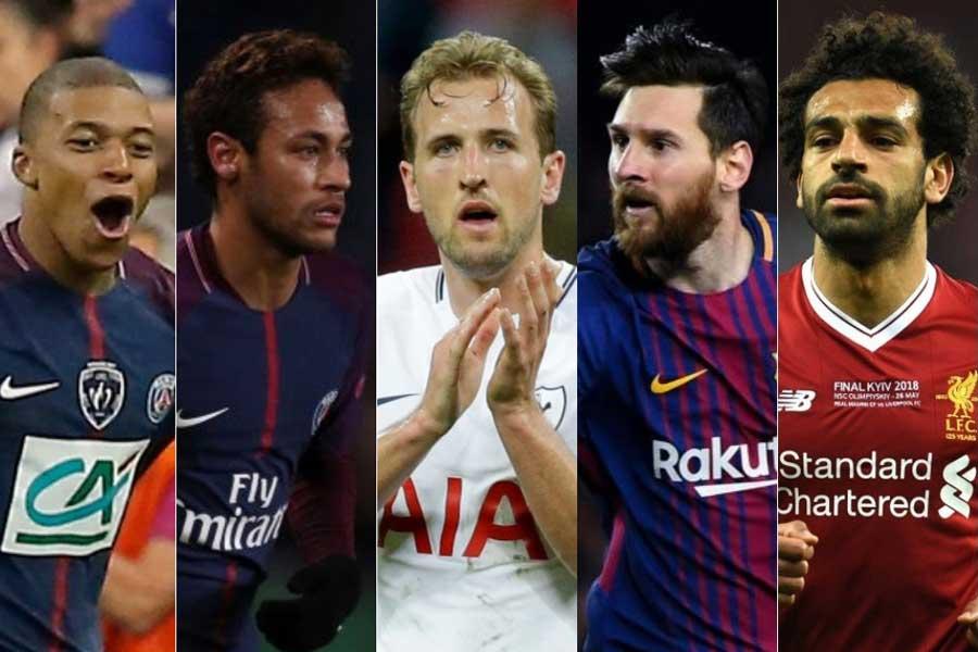 (左から)ムバッペ、ネイマール、ケイン、メッシ、サラーの上位5選手【写真:AP&Getty Images】
