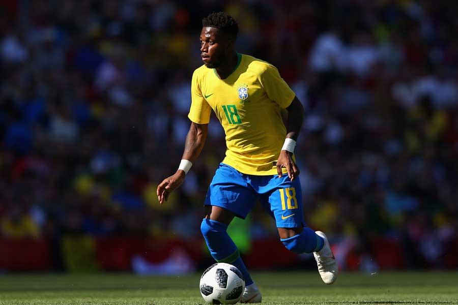 練習中に足首に外傷を負ったブラジル代表のフレッジ【写真:Getty Images】