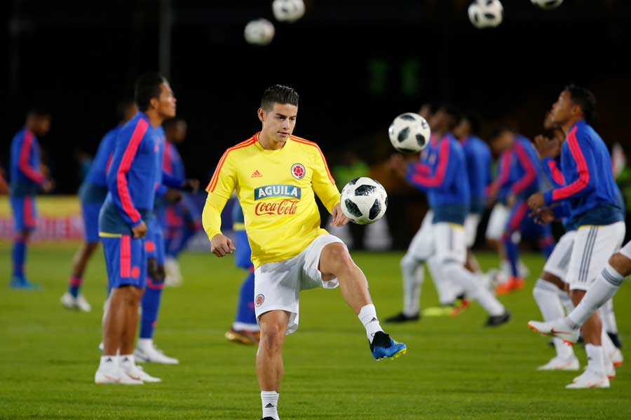 コロンビア代表MFハメス・ロドリゲスが筋肉疲労で練習を欠席していたことが分かった【写真:AP】