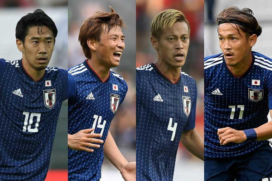 (左から)香川、乾、本田、宇佐美【写真:Getty Images】