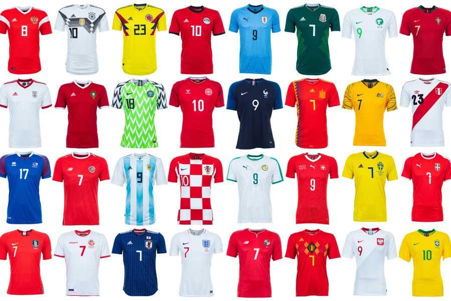 ロシアW杯に出場する各国代表ユニフォーム【写真:Getty Images】
