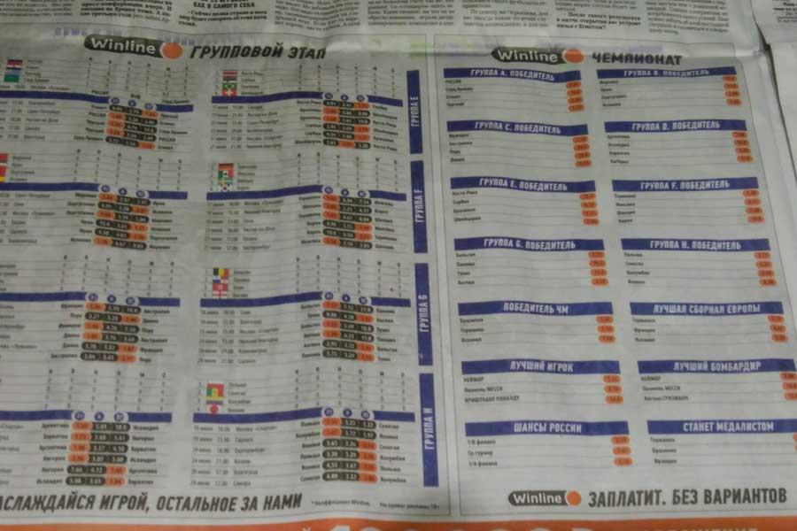 ロシア紙「スポーツエクスプレス」は紙面上でW杯各グループリーグの勝ち抜けオッズを公開【写真:Football ZONE web】