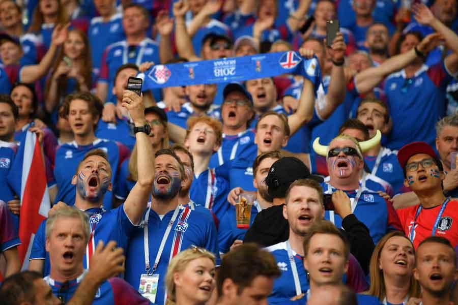 W杯初出場のアイスランドは、「国民の9%がロシア入り」と報じられている【写真:Getty Images】