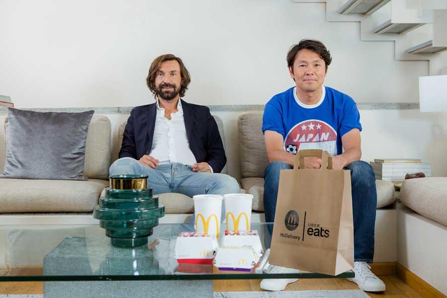 ピルロ氏と福田正博氏が「Uber Eats」キャンペーンで共演した 【写真:Uber Eats】