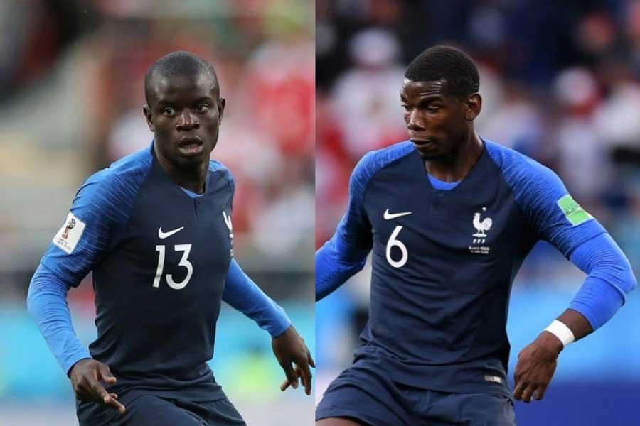 決勝トーナメント進出を決めたフランスは、(左)カンテと(右)ポグバの2ボランチが強さの鍵を握っている【写真:Getty Images】