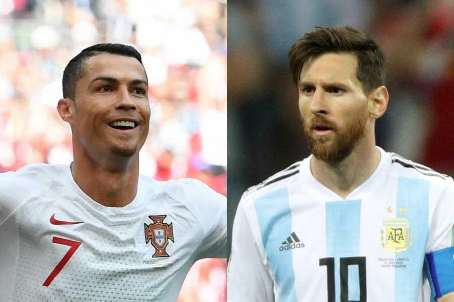 ポルトガル代表のC・ロナウド(左)、アルゼンチン代表のメッシ(右)【写真:Getty Images】