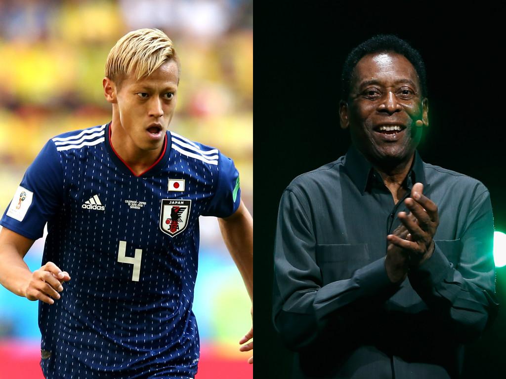 本田(左)が幼少期に影響を受けたペレ(右)について語った【写真:Getty Images】