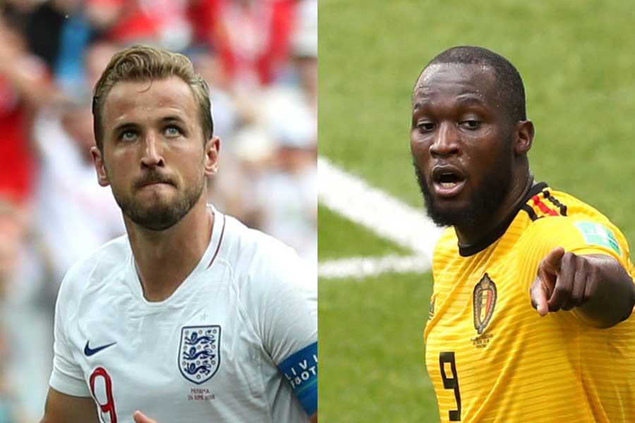 イングランド代表・ケイン(左)、ベルギー代表・ルカク(右)【写真:Getty Images】