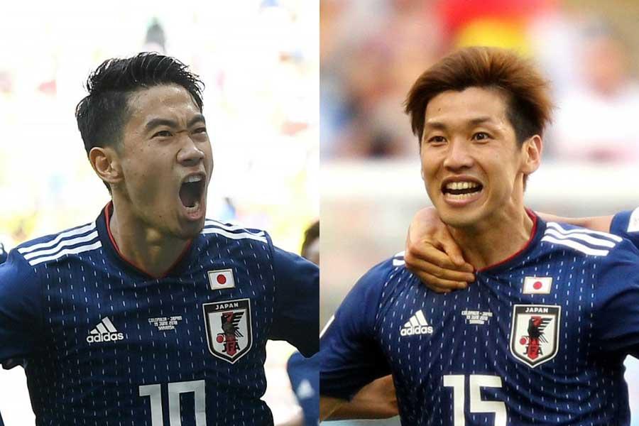 香川(左)と大迫(右)には、セネガル戦で日本人選手歴代二人目の偉業達成が期待される【写真:Getty Images】