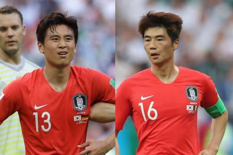 韓国代表の(右)キ・ソンヨンと(左)ク・ジャチョルに代表引退の可能性が浮上している【写真:AP&Getty Images】