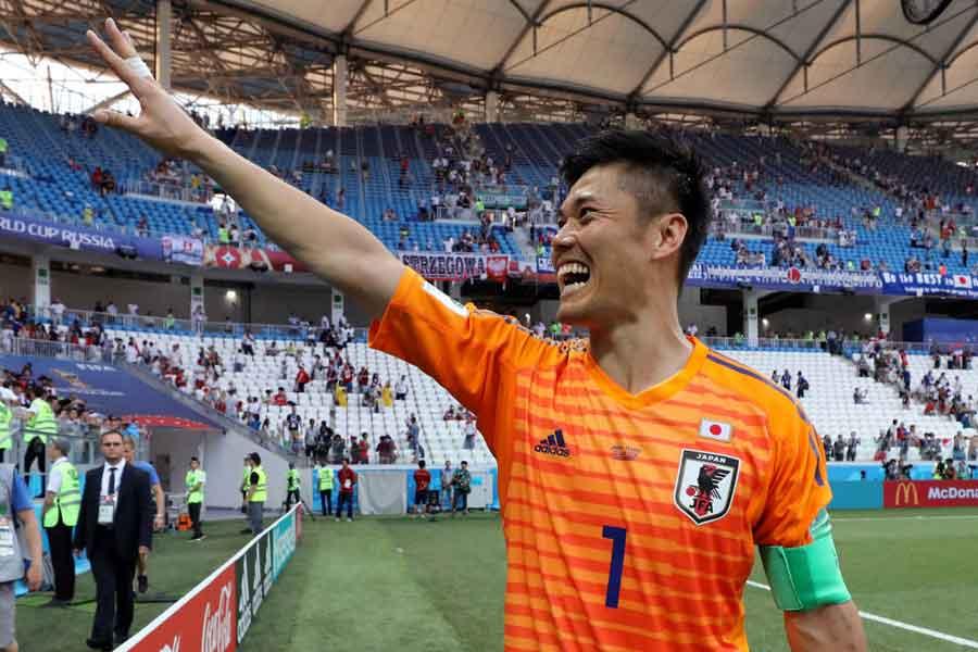 """日本代表GK川島の""""神がかり的プレー""""をイギリスメディアが絶賛している【写真:Getty Images】"""