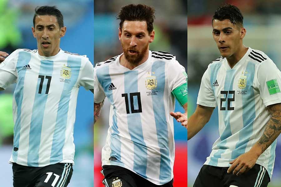 """アルゼンチンはフランス戦で、メッシ(中)を""""偽9番""""に据えた布陣を採用する可能性があるという【写真:Getty Images】"""