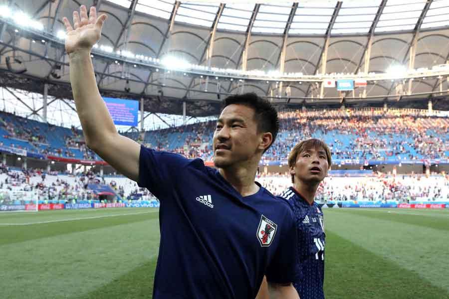 日本代表FW岡崎が、足首痛で別メニュー調整となった【写真:Getty Images】