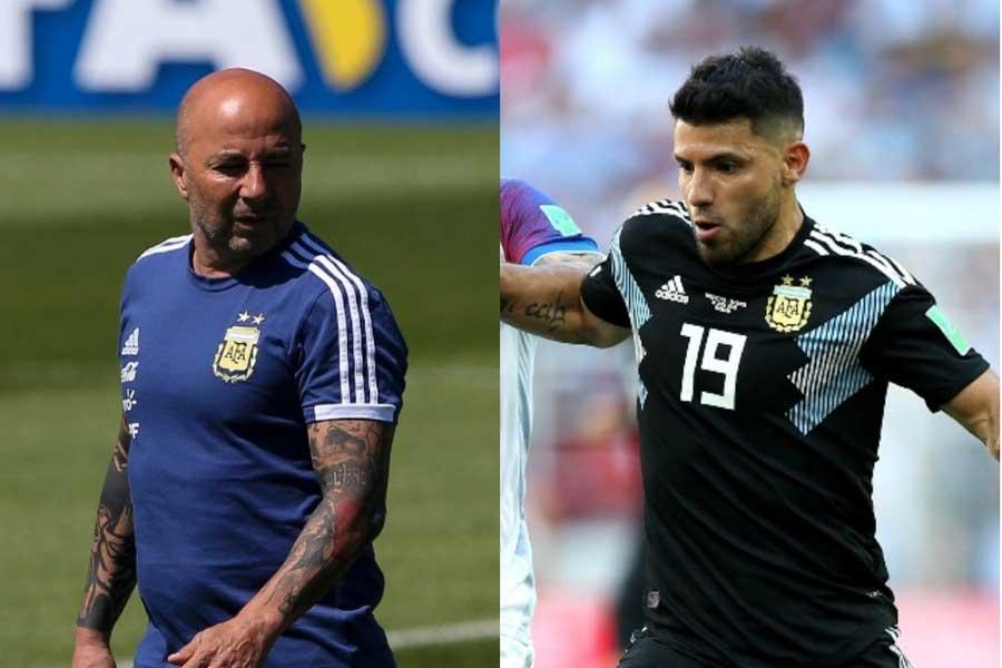 16強進出が懸かるナイジェリア戦、アルゼンチンを率いるホルヘ・サンパオリ監督は、FWセルヒオ・アグエロを先発から外すことが濃厚だという【写真:Getty Images】