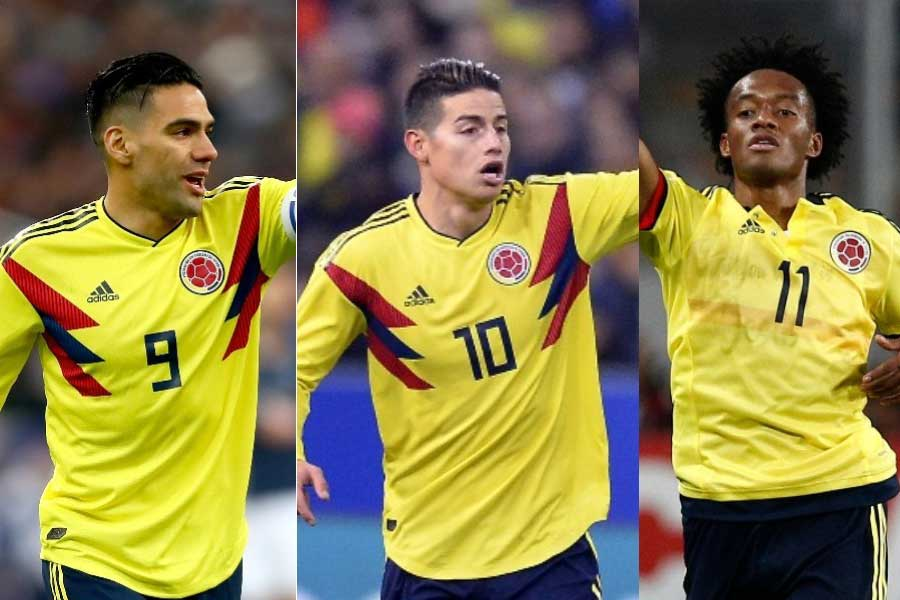 警戒すべきは (左から) FWラダメル・ファルカオ、MFハメス・ロドリゲス、MFフアン・クアドラードの強力トリデンテだろう【写真:Getty Images】