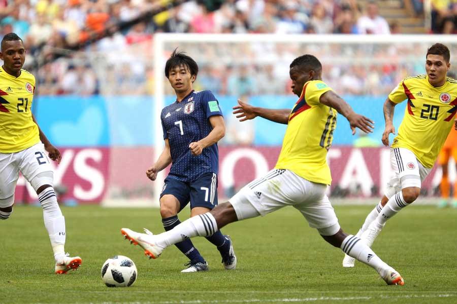 コロンビア戦、日本代表で最も高いポイントを示していた柴崎岳【写真:Getty Images】
