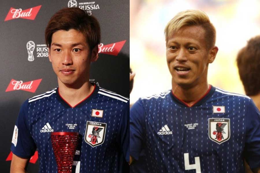 途中出場の本田は、決勝点を決めた大迫に何を伝えたのか?【写真:Getty Images】