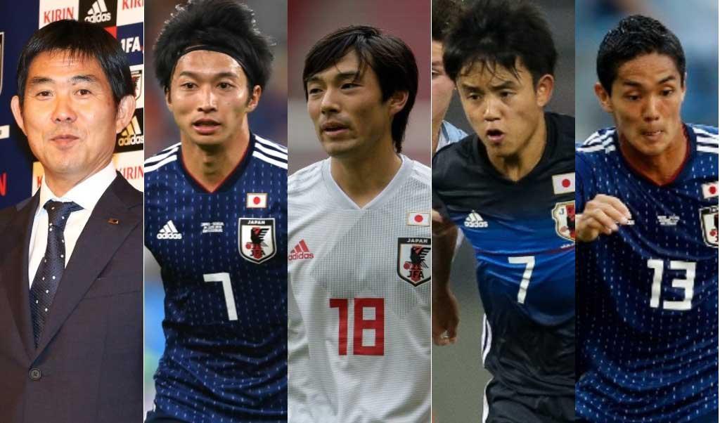森保新監督(左端)は新生日本代表でどのような選手を軸に据えるのか。 (左から)柴崎岳、中島翔哉、久保建英、武藤嘉紀【写真:Getty Images】