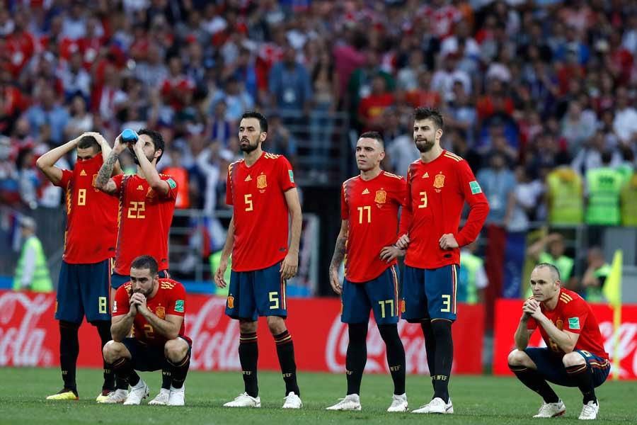 ベスト16でロシアにPK戦の末敗退したスペイン【写真:AP】