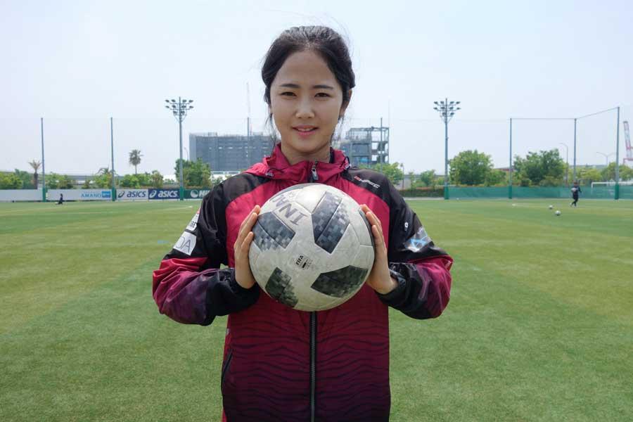 今季なでしこリーグ(日本女子サッカーリーグ)のINAC神戸レオネッサに移籍した韓国女子代表MFイ・ミナ【写真:金 明昱】