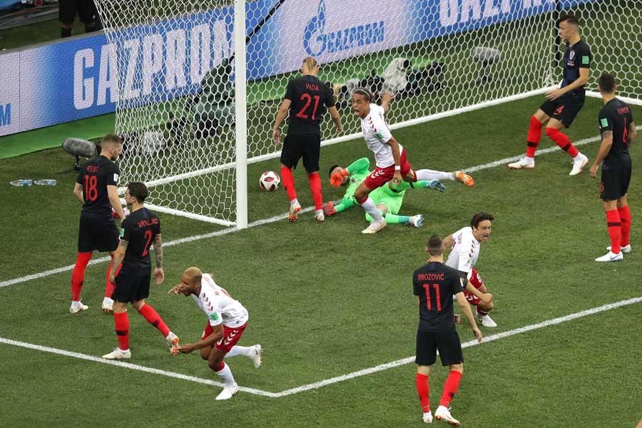 ヨルゲンセンのゴールが今大会、試合開始からの最速ゴールとなった【写真:Getty Images】