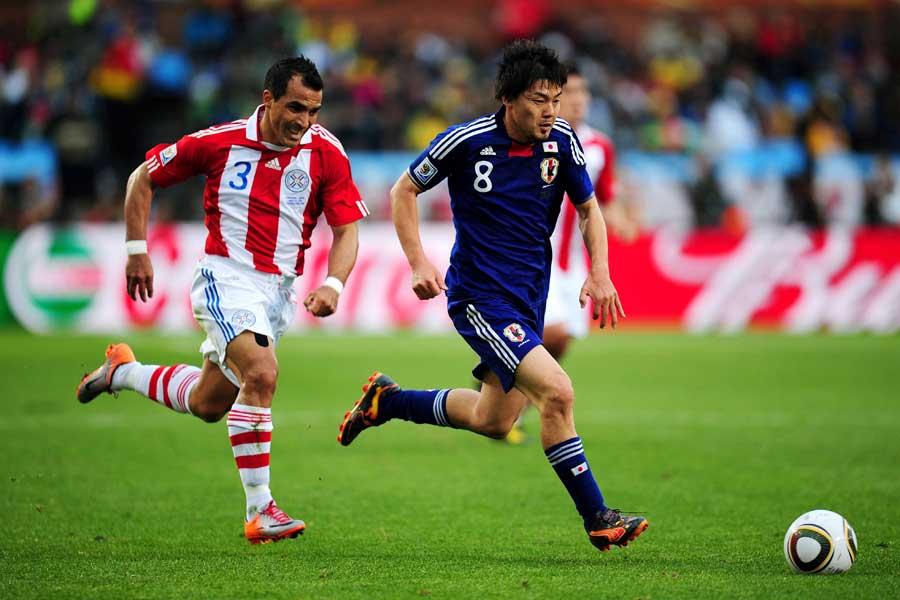 2010年大会メンバーである松井が、西野ジャパンにエールを送っている【写真:Getty Images】